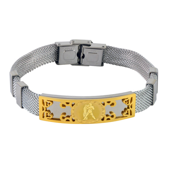 Sarah Stainless Steel Aquarius Zodiac Sign Mens Mesh Bracelet