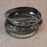 Sarah 8 pc Multisized Gunmetal Partywear Bangles/Cuff/Bracelet for Girls and Women