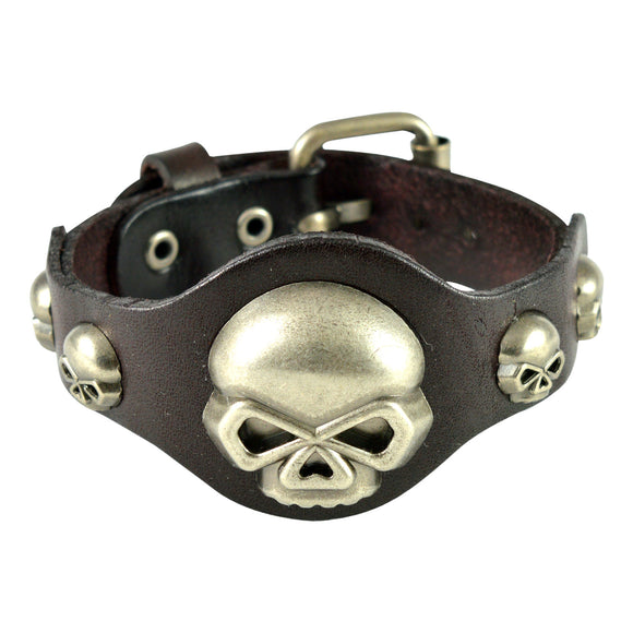 Sarah Devil Skull Mens Leather Wristband