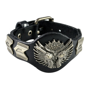 Sarah Gun With Wings Mens Leather Wristband