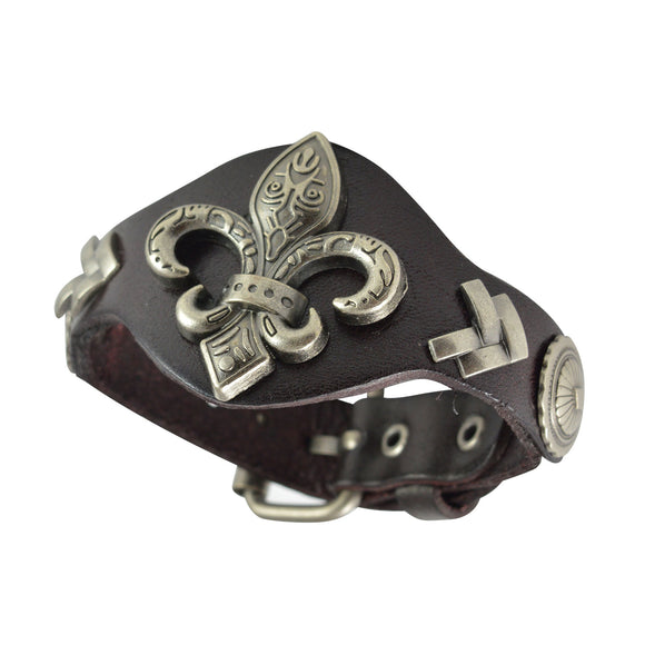 Sarah Fleur De Lis Mens Leather Wristband