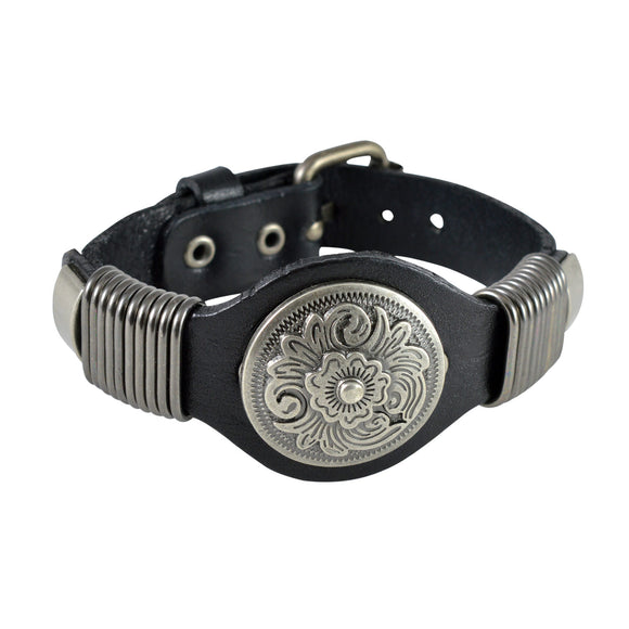 Sarah Floral Carvings Mens Leather Wristband