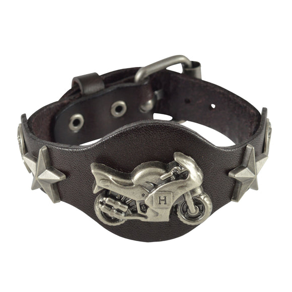 Sarah Bike Symbol Mens Leather Wristband