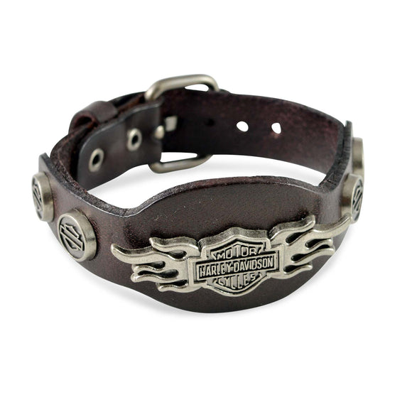 Sarah Fire Symbol Mens Leather Wristband