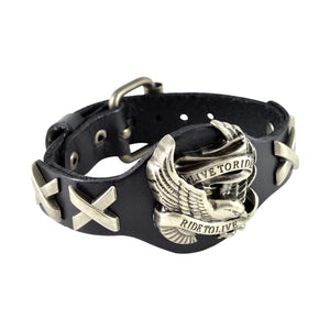 Sarah Live to Ride Mens Leather Wristband