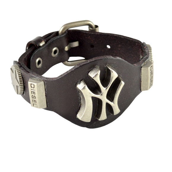Sarah New York Symbol Mens Leather Wristband