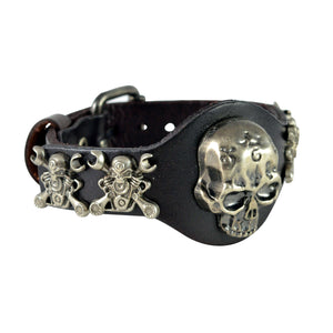 Sarah Mechanic Skull Mens Leather Wristband
