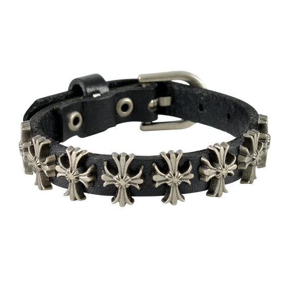 Sarah Cross Design Mens Leather Wristband-Black