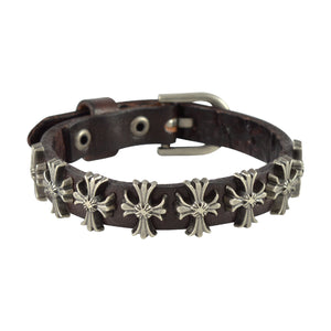 Sarah Cross Design Mens Leather Wristband-Brown