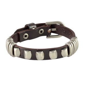 Sarah Star and Beaded Mens Leather Wristband-Brown