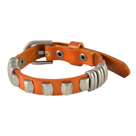 Sarah Star and Beaded Mens Leather Wristband-Orange