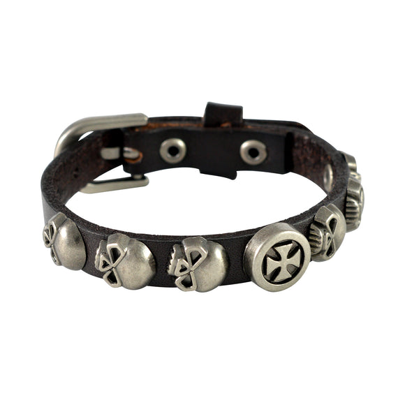 Sarah Skulls & Vintage Cross Mens Leather Wristband-Brown