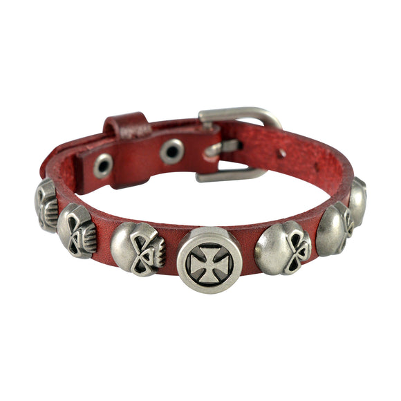 Sarah Skulls & Vintage Cross Mens Leather Wristband-Maroon