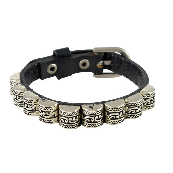 Sarah Carved Beads Mens Leather Wristband-Black