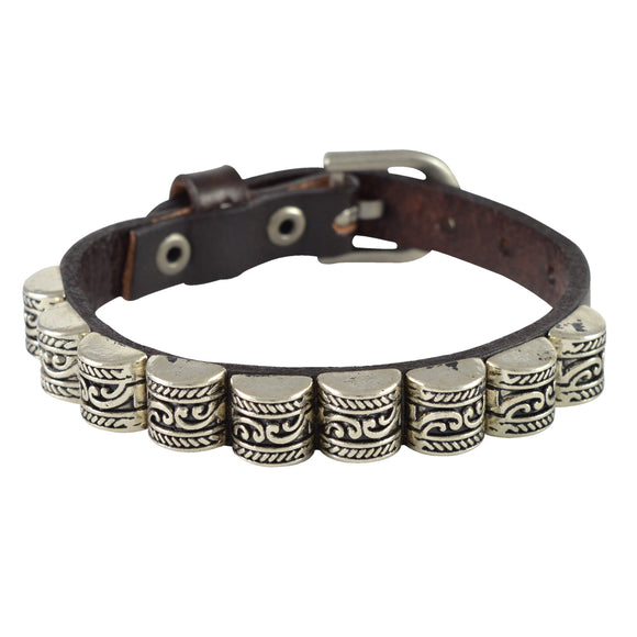 Sarah Carved Beads Mens Leather Wristband-Brown
