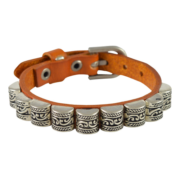 Sarah Carved Beads Mens Leather Wristband-Orange