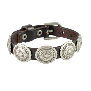 Sarah Wavy Edged Coins Mens Leather Wristband-Brown