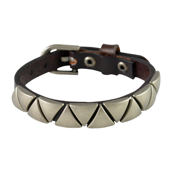 Sarah Triangular Beads Mens Leather Wristband-Brown