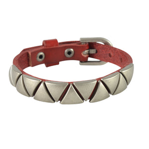 Sarah Triangular Beads Mens Leather Wristband-Maroon
