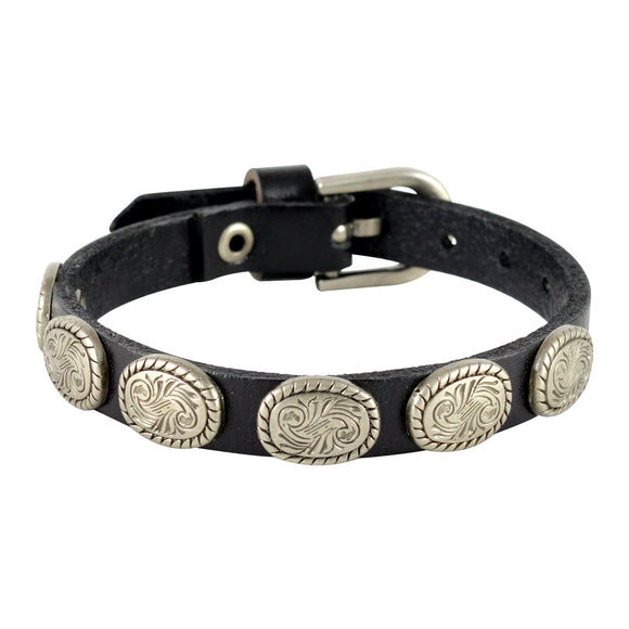 Sarah Oval Coin Beads Mens Leather Wristband-Black