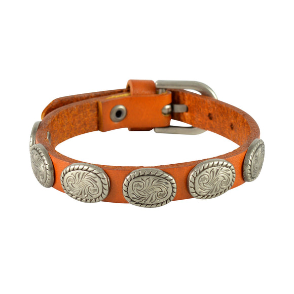 Sarah Oval Coin Beads Mens Leather Wristband-Orange