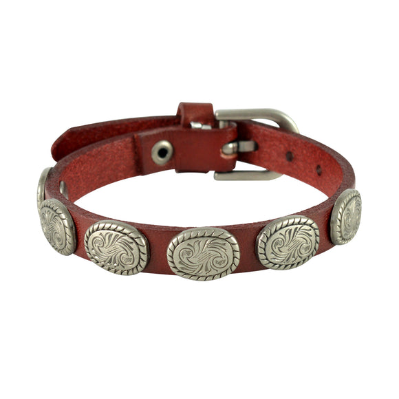 Sarah Oval Coin Beads Mens Leather Wristband-Maroon