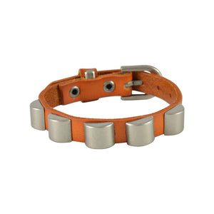 Sarah Solid Beads Mens Leather Wristband-Orange