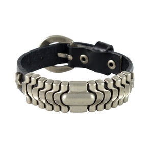 Sarah Wavy Metal Rings Mens Leather Wristband-Black
