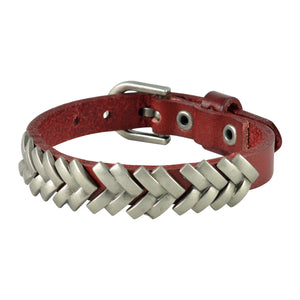 Sarah Geometric Line Pattern Mens Leather Wristband-Maroon