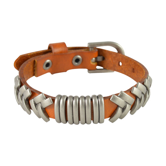 Sarah Rings & Geometric Lines Mens Leather Wristband-Orange