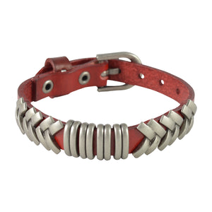 Sarah Rings & Geometric Lines Mens Leather Wristband-Maroon