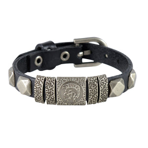 Sarah Abstract Design Mens Leather Wristband-Black