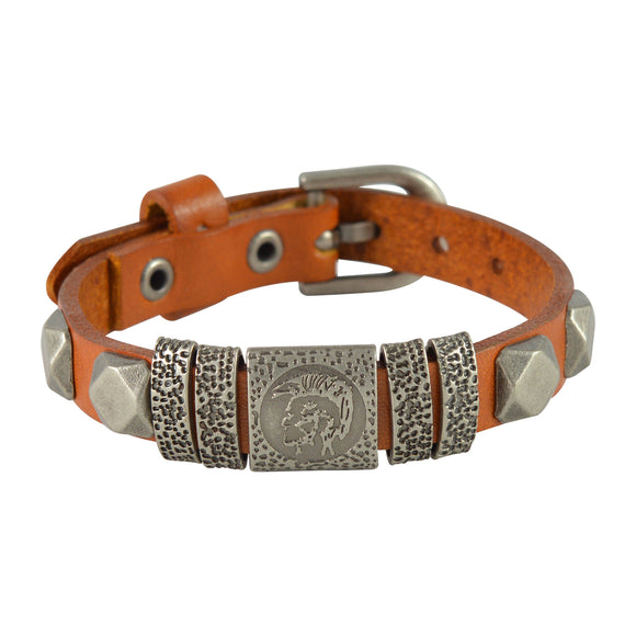 Sarah Abstract Design Mens Leather Wristband-Orange