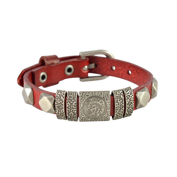 Sarah Abstract Design Mens Leather Wristband-Maroon