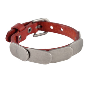 Sarah Metal Plates Mens Leather Wristband-Maroon