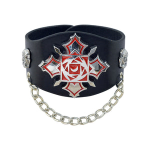 Sarah Gothic Style Biker Mens Leather Wristband-Black