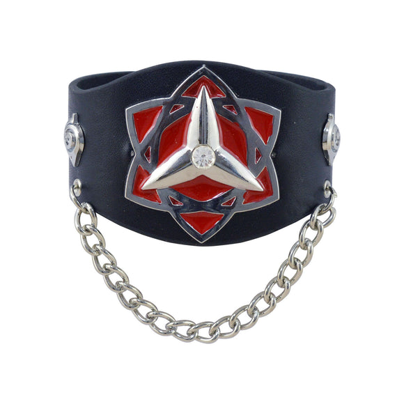 Sarah Star Symbol Biker Mens Leather Wristband-Black