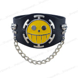 Sarah Zombie Smiley Biker Mens Leather Wristband-Black