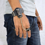 Sarah Death Note L Lawliet Logo Biker Mens Leather Wristband with Chain Finger Ring-Black
