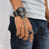 Sarah Anchor with Danger Biker Mens Leather Wristband with Chain Finger Ring-Black