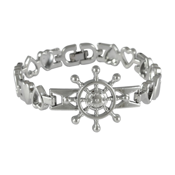 Sarah Ship Wheel Mens Steel Bracelet-Silver