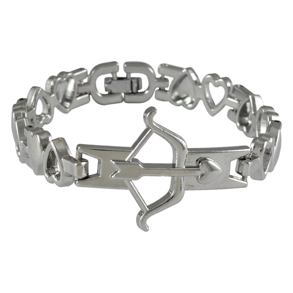 Sarah Bow and Arrow Mens Steel Bracelet-Silver