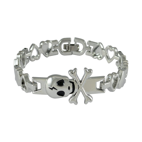 Sarah Danger Sign Mens Steel Bracelet-Silver