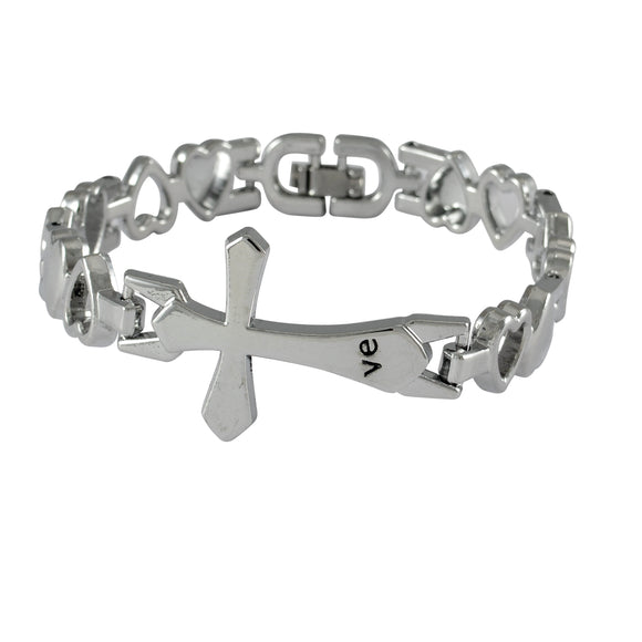 Sarah Cross Mens Steel Bracelet-Silver