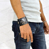 Sarah Vintage Symbol Mens Wide Leather Wristband-Black