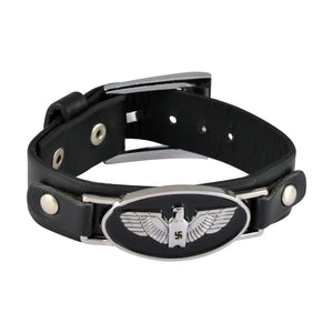 Sarah Eagle Wings Mens Leather Wristband-Black