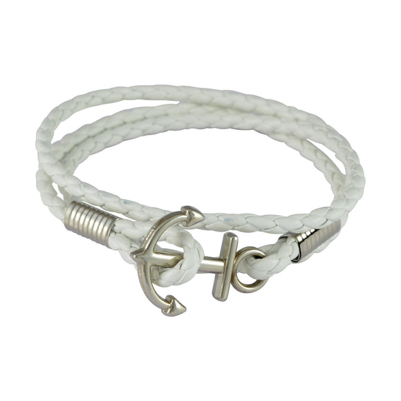 Sarah Anchor Clasp Wrap Mens Leather Bracelet-White