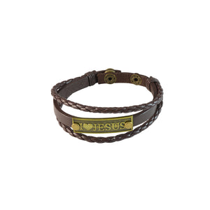 Sarah Multilayer Brown Faux Leather I Love JESUS Charm Bracelet Wristbands