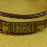 Sarah Multilayer Brown Faux Leather Flower Symbol Charm Bracelet Wristbands