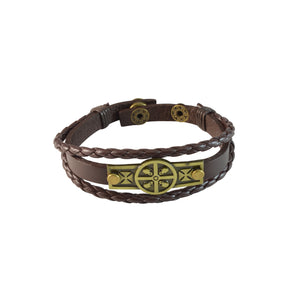 Sarah Multilayer Brown Faux Leather Skull Cross Charm Bracelet Wristbands